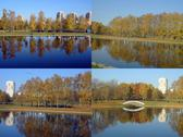 Stock Photo of set of city park in gold fall
