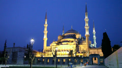 Sultan Ahmed Mosque (Blue Mosque) in Istanbul at the night time Stock Footage