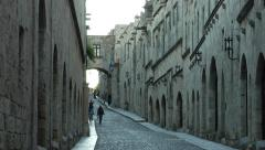 Medieval town of Rhodes view with Knight Street (Odos Ippoton) - stock footage