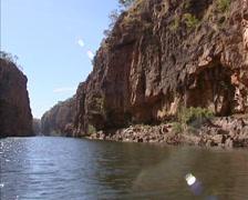 Cruising river in Katherine Gorge in Nitmiluk National park, Australia, Stock Footage
