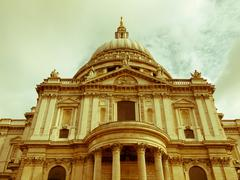 Stock Photo of retro looking st paul cathedral, london