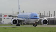 Large Boeing 777 lining up for take-off Stock Footage