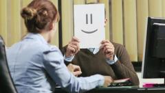 17of19 business people working in office with emoticon Stock Footage