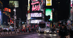 Ultra HD 4K LED Signs Illuminated Night New York City Times Square Popular Lit Stock Footage