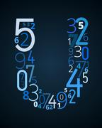 Letter U, vector font from numbers - stock illustration