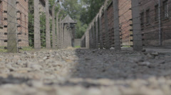 Auschwitz Lane with Barbed Wire Fences - stock footage