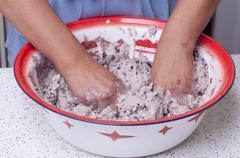 Making masa for tamales Stock Photos