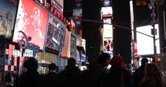 Ultra HD 4K Broadway Famous Street 7 Avenue Illuminated Night NYC People Walking Stock Footage