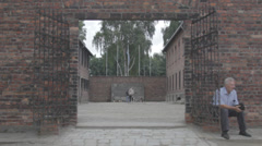 Auschwitz Wall Gate Stock Footage