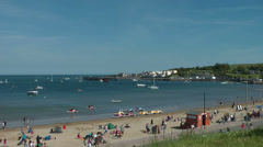 Swanage beach / Summer feeling at the southcoast of England Stock Footage