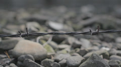 Auschwitz Barbed Wire and Rocks Stock Footage