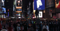 Ultra HD 4K People Crossing Street Times Square Night New York City Yellow Cabs Footage