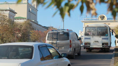 Metropolis. The movement of cars. Streets of Ulan Ude Stock Footage