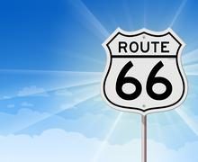 Route 66 Roadsign on Blue Sky Stock Illustration