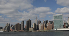 Ultra HD 4K New York City Cityscape Empire State Building Company NYC Waterfront Stock Footage
