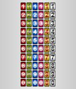 Rotating Numbers in various colors Stock Illustration