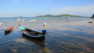 Stock Video Footage of Longtail boats parked in Rawai beach in Phuket island. Thailand