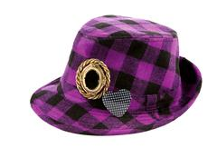 purple squares borsalino with brooches - stock photo
