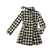 Black and white houndstooth check woolen cute coat Stock Photos