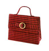 red houndstooth checker handbag - stock photo