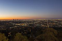 city of los angeles night - stock photo