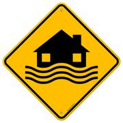 Flood Disaster Yellow Sign Stock Illustration
