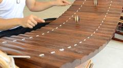 Bamboo Xylophone Mat (Ranat) Instrument Of Thailand Stock Footage