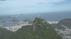 015 Rio, Helicopter flight, Aerial, Rio City, Christ the Redeemer, Corcovado. Stock Footage