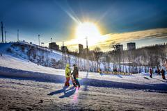 Sunny day on the mountain resort - stock photo