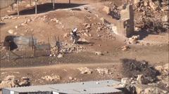 Palestinian Bedouin elderly man carrying bag Stock Footage