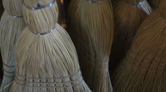Hand made handmade brooms broom Stock Footage