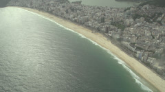 010 Rio, Helicopter flight, Aerial, Ipanema beach Stock Footage