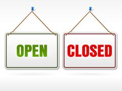 Open and Closed shop sign - stock illustration