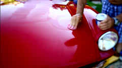 Polishing a red car. Stock Footage