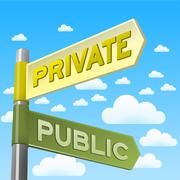 Private and Public Direction Sign Stock Illustration