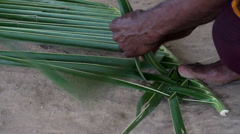 Weaving of palm leaves to cover the roof of the house. Stock Footage