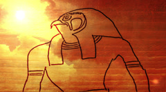 Horus 2 egyptian god heiroglyphic heiroglyph Stock Footage