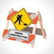 Under Construction Road Sign Stock Illustration