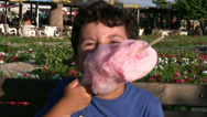 Stock Video Footage of Little boy eating Cotton candy