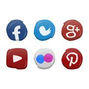 Social Media Icon Set - stock illustration