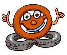 Steering Wheel Mascot Stock Illustration