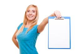 woman college student girl holds clipboard with blank - stock photo