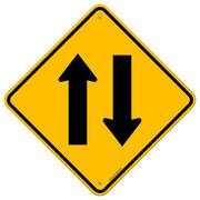Yellow Sign Directional Arrows - stock illustration