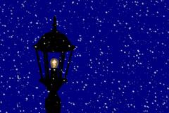Pole light on a snowy winter night.  Animation. Stock Footage