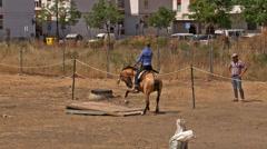 Horse back riding Spanish style Stock Footage