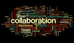 collaboration concept in word tag cloud - stock illustration