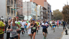 Participants in the 2013 New York City Marathon - stock footage