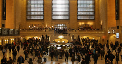 Ultra HD 4K Commuters Shoppers in Motion Grand Central Terminal New York City Stock Footage