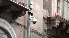 Surveillance dome camera on pole outdoors Stock Footage