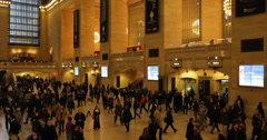 UHD 4K Travellers Passing Walking New York City Grand Central Station Terminal Stock Footage